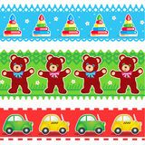 Kids toys borders seamless patterns Royalty Free Stock Photography