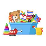 Kids toys in a box. Storage place and things for a child to play with, box used for keeping dolls in. Vector flat style cartoon illustration isolated on white royalty free illustration