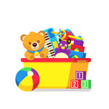 Kids toys in box vector clipart Stock Images