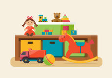 Kids toys in boxes. Stock Photos