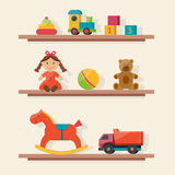 Kids toys in boxes. Playroom kids in nursery. Baby room interior. Flat style vector illustration Stock Photos