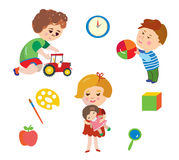 Kids and toys cartoons set Royalty Free Stock Photo