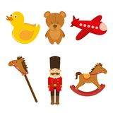 Kids toys collection soldier teddy airplane duck rockinghorse. Vector illustration Stock Photos