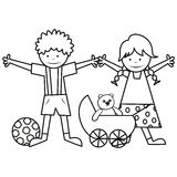 Kids and toys - coloring book Stock Photos