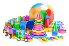 Kids toys concept, 3D rendering isolated on white background Royalty Free Stock Photos