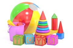 Kids toys concept, 3D rendering vector illustration