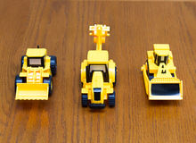 Kids toys. Construction machinery. Children`s construction machinery at the construction macro Royalty Free Stock Photography