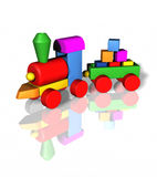 Kids toys education. Toy train early childdood education isolated vector illustration