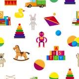 Kids toys flat style seamless pattern Royalty Free Stock Image