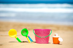 Kids toys on Fuerteventura beach Stock Images