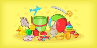 Kids toys horizontal banner, cartoon style Stock Image