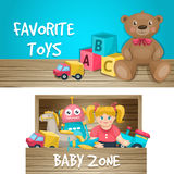 Kids Toys Horizontal Compositions. Two horizontal compositions with favorite toys and baby zone editable captions on wooden and gradient background vector Royalty Free Stock Photos