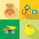 Kids toys icons set, in outlines Royalty Free Stock Image