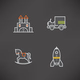 Kids toys. Safe playtime: Kids toys, pictured here from left to right, top to bottom Royalty Free Stock Photos