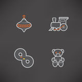 Kids toys. Safe playtime: Kids toys, pictured here from left to right, top to bottom Royalty Free Stock Images