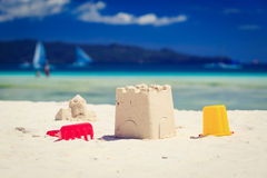 Kids toys on sand beach Royalty Free Stock Photo