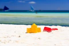 Kids toys on sand beach Stock Photo