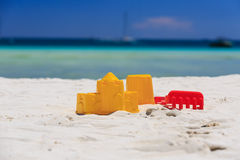 Kids toys on sand beach Royalty Free Stock Photo