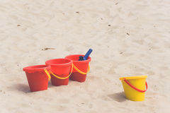 Kids toys in a sandbox. In the summer Royalty Free Stock Images