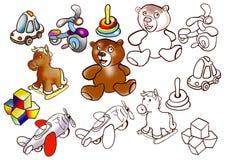 Kids toys set. Kids different toys set, color and lineart stile stock illustration