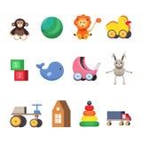 Kids toys set. Colorful flat illustrations. Stock Photos