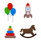 Kids toys set. In flat design style isolated on white background Royalty Free Stock Photos