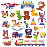 Kids toys set. Toy kid child preschool house baby game ball train yacht horse doll duck boat plane bear car pyramid stock illustration