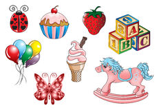 Kids Toys Sweets. Various illustrations of kids toys and fun images Stock Photo