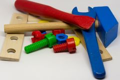 Kids toys tools royalty free stock photos