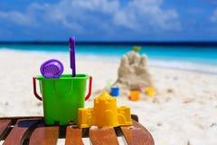 Kids toys on tropical beach Stock Photography