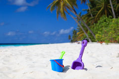 Kids toys on tropical beach Royalty Free Stock Photo