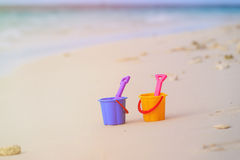 Kids toys on tropical sand beach. Family vacation Royalty Free Stock Photo