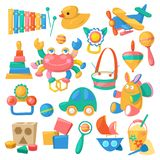 Kids toys vector cartoon games for children in playroom and playing with duck car or colorful blocks illustration set. Isolated on white background royalty free illustration