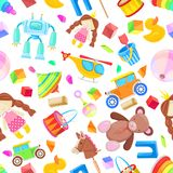 Kids toys vector seamless pattern. Color toy for baby boy and girl, cartoon illustration. Cute white background print. stock illustration