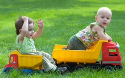 Kids on tracks Stock Image