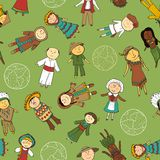 Kids in traditional costumes, seamless pattern Stock Image