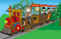 Kids on train. An image for playing kids on train and playing happily in garden Stock Image