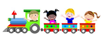 Happy Kids Children on Train Isolated Stock Photos