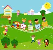 Kids and train. Cartoon art Royalty Free Stock Photo