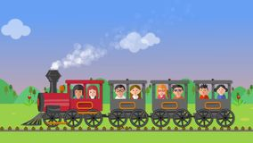 Kids on a train. Animation of a group of happy kids on a vintage train travelling on the countryside stock video