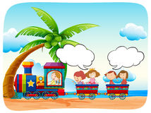 Kids on train at the beach Stock Photography