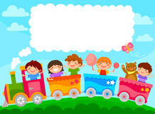 Kids in a train with copy text. Kids in a colorful train with space for text Stock Images