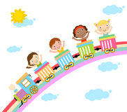 Kids and train Stock Image