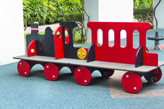 Kids train on playground. Red and black Kid's train on playground Royalty Free Stock Photography