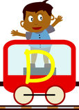 Kids & Train Series - D. Kids and train series (28 illustrations). Illustration of the alphabet letters from A to Z with two locomotives. You can choose and Royalty Free Stock Image