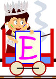 Kids & Train Series - E. Kids and train series (28 illustrations). Illustration of the alphabet letters from A to Z with two locomotives. You can choose and Stock Photos