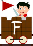 Kids & Train Series - F. Kids and train series (28 illustrations). Illustration of the alphabet letters from A to Z with two locomotives. You can choose and Stock Image