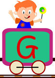 Kids & Train Series - G. Kids and train series (28 illustrations). Illustration of the alphabet letters from A to Z with two locomotives. You can choose and Royalty Free Stock Photos