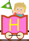 Kids & Train Series - H. Kids and train series (28 illustrations). Illustration of the alphabet letters from A to Z with two locomotives. You can choose and Royalty Free Stock Photography