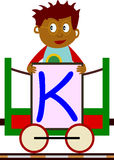 Kids & Train Series - K. Kids and train series (28 illustrations). Illustration of the alphabet letters from A to Z with two locomotives. You can choose and Royalty Free Stock Photos